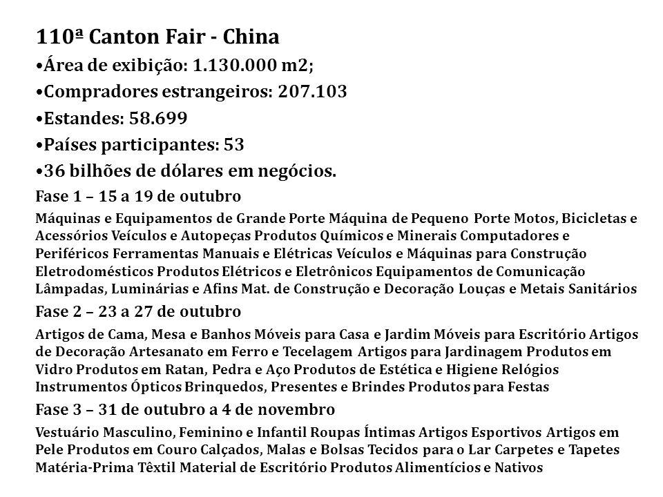 110ª Canton Fair - China Área de exibição: 1.130.000 m2; Compradores estrangeiros: 207.103 Estandes: 58.699 Países participantes: 53 36 bilhões de dólares em negócios.