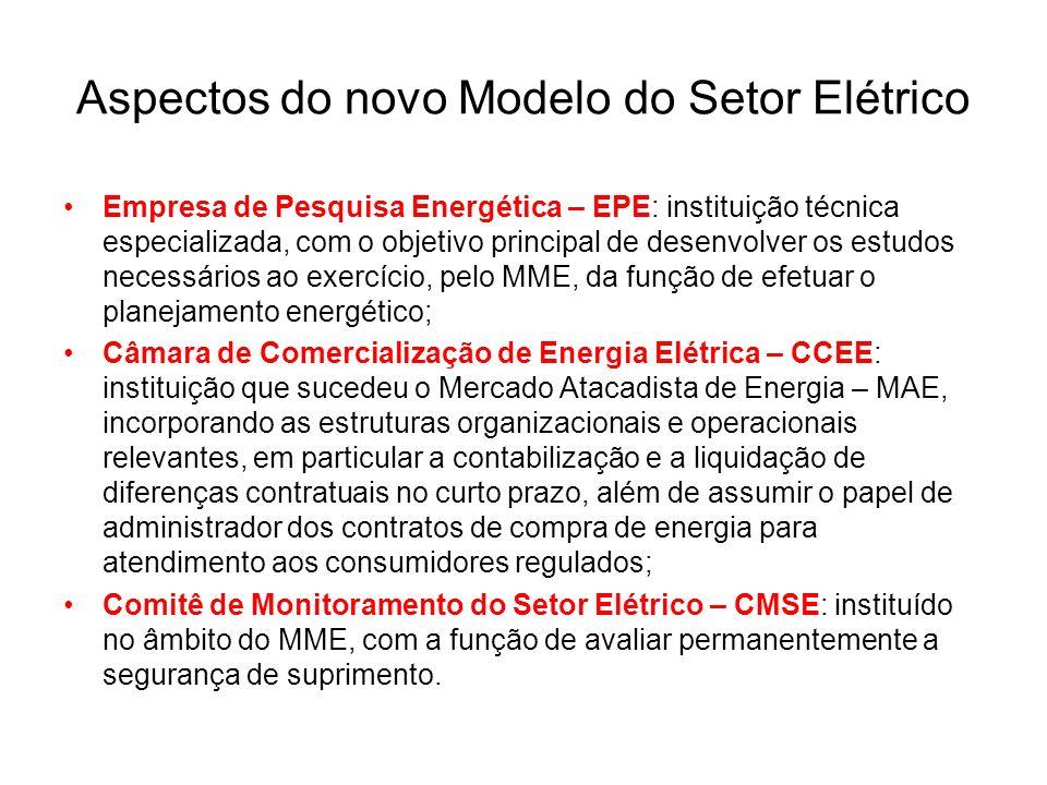 Aspectos do novo Modelo do Setor Elétrico Empresa de Pesquisa Energética – EPE: instituição técnica especializada, com o objetivo principal de desenvo