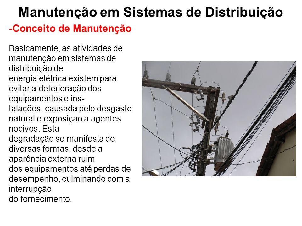 Manutenção em Sistemas de Distribuição -Conceito de Manutenção Basicamente, as atividades de manutenção em sistemas de distribuição de energia elétric