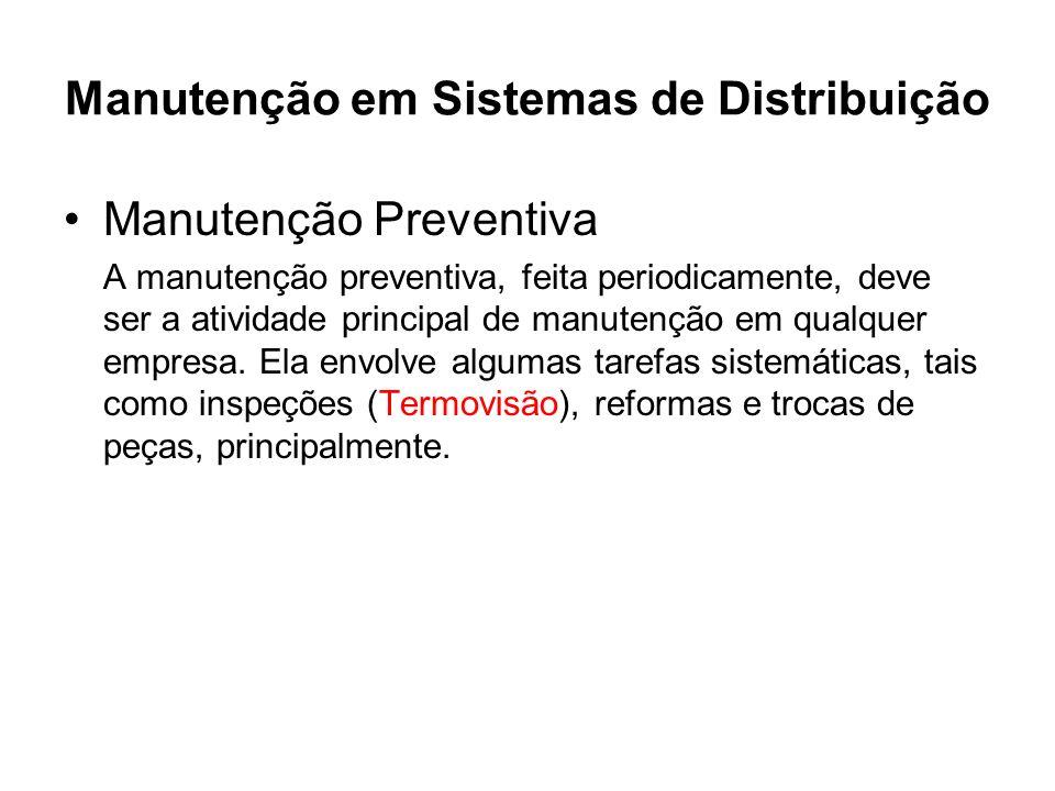 Manutenção em Sistemas de Distribuição Manutenção Preventiva A manutenção preventiva, feita periodicamente, deve ser a atividade principal de manutenç
