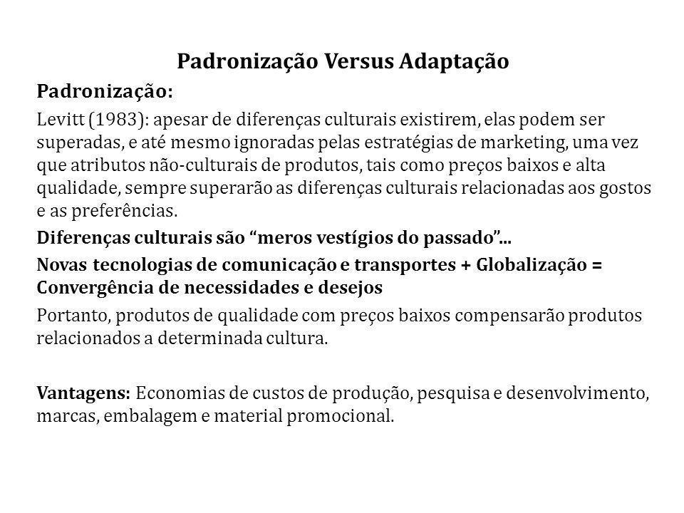Padronização Versus Adaptação Padronização: Levitt (1983): apesar de diferenças culturais existirem, elas podem ser superadas, e até mesmo ignoradas pelas estratégias de marketing, uma vez que atributos não-culturais de produtos, tais como preços baixos e alta qualidade, sempre superarão as diferenças culturais relacionadas aos gostos e as preferências.