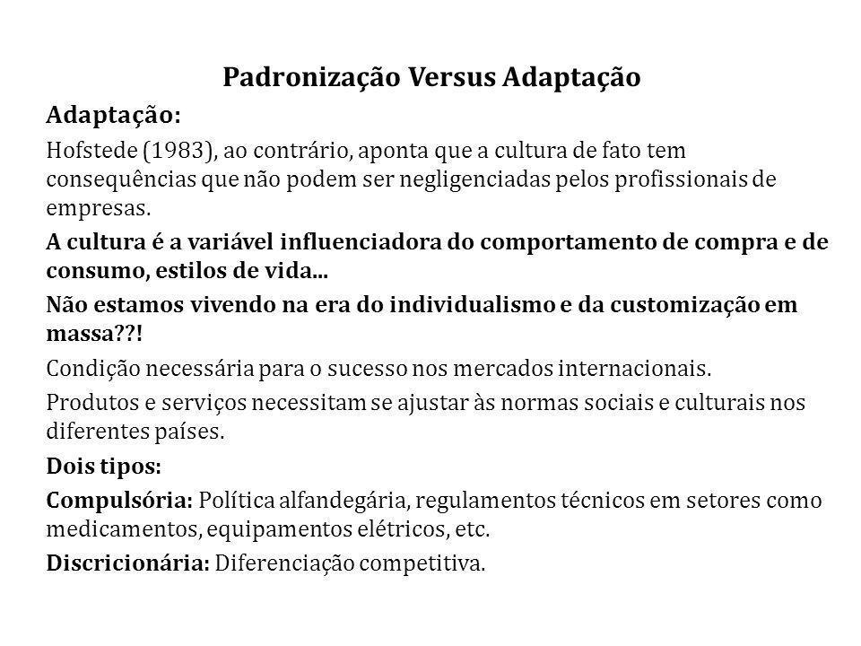 Padronização Versus Adaptação Adaptação: Hofstede (1983), ao contrário, aponta que a cultura de fato tem consequências que não podem ser negligenciadas pelos profissionais de empresas.