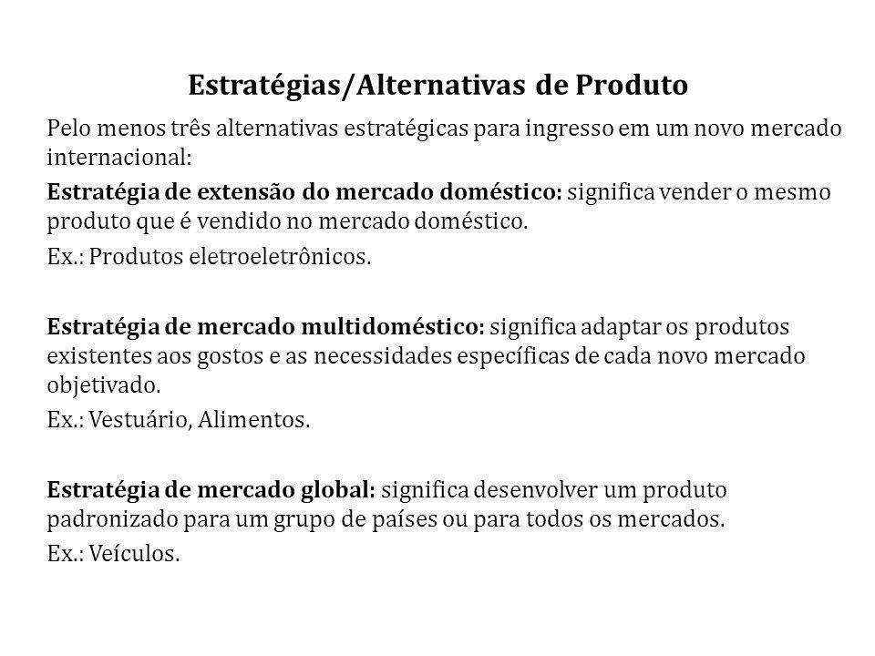 Estratégias/Alternativas de Produto Pelo menos três alternativas estratégicas para ingresso em um novo mercado internacional: Estratégia de extensão do mercado doméstico: significa vender o mesmo produto que é vendido no mercado doméstico.