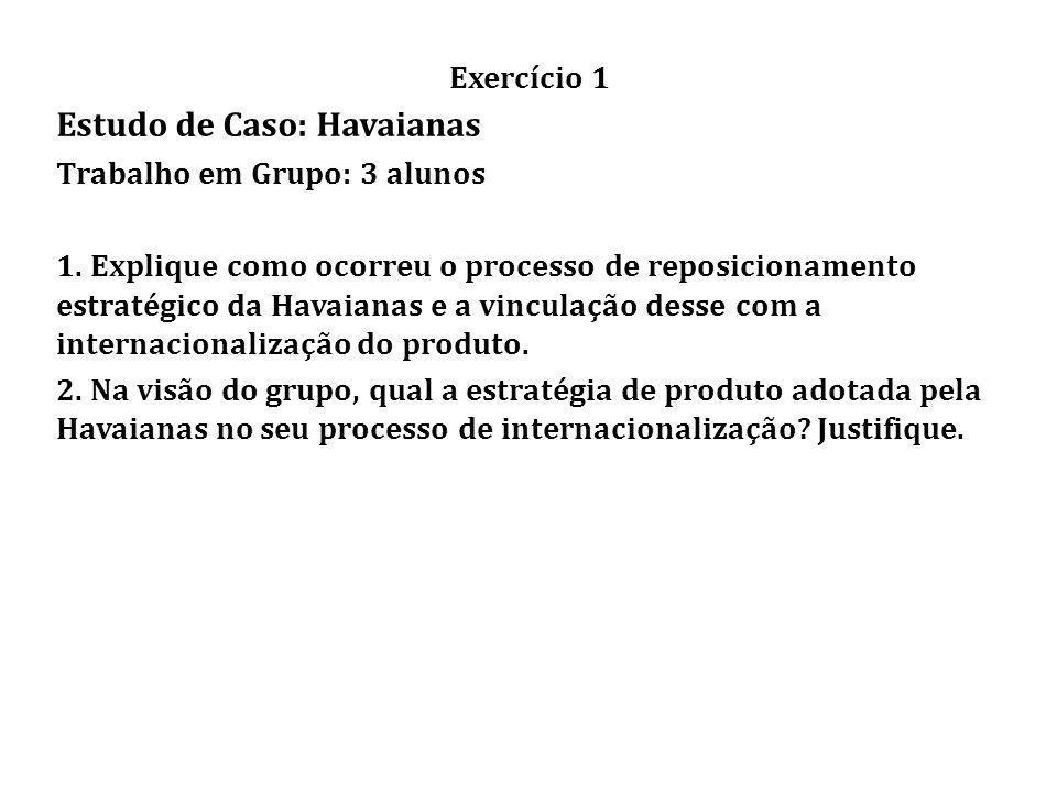 Exercício 1 Estudo de Caso: Havaianas Trabalho em Grupo: 3 alunos 1.