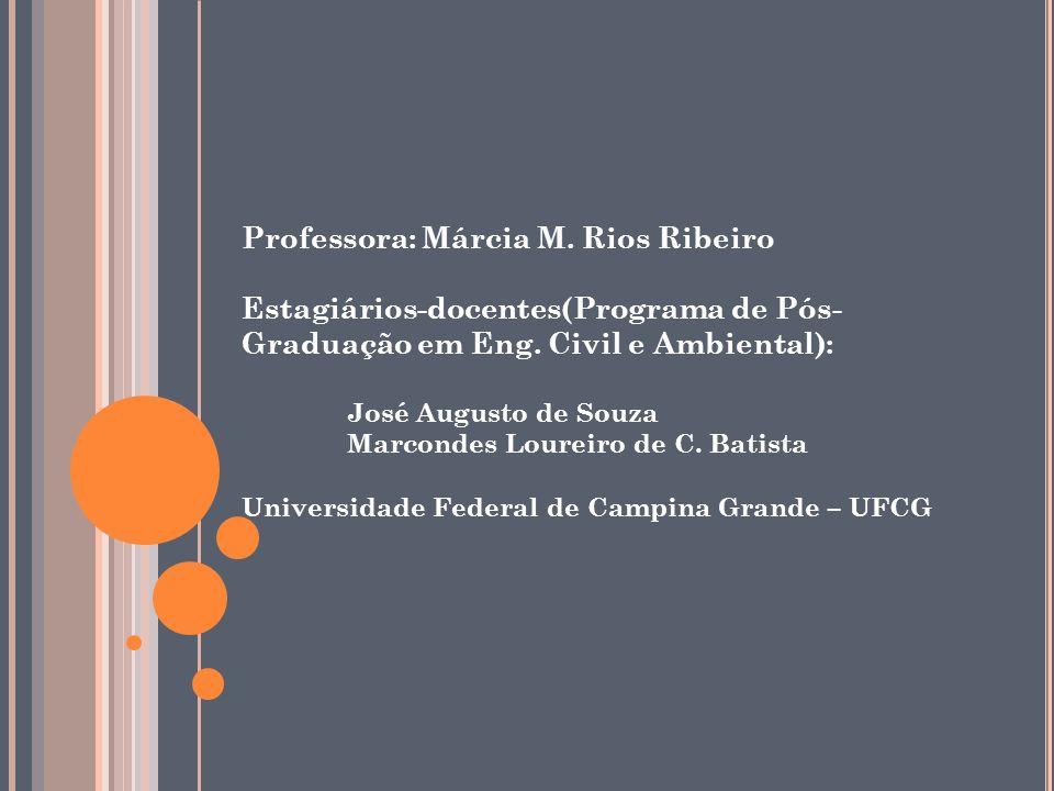 Professora: Márcia M. Rios Ribeiro Estagiários-docentes(Programa de Pós- Graduação em Eng. Civil e Ambiental): José Augusto de Souza Marcondes Loureir