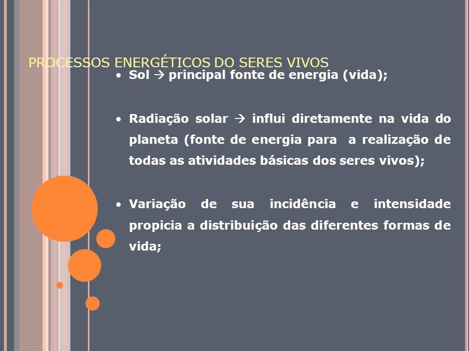 PROCESSOS ENERGÉTICOS DO SERES VIVOS Sol principal fonte de energia (vida); Radiação solar influi diretamente na vida do planeta (fonte de energia par
