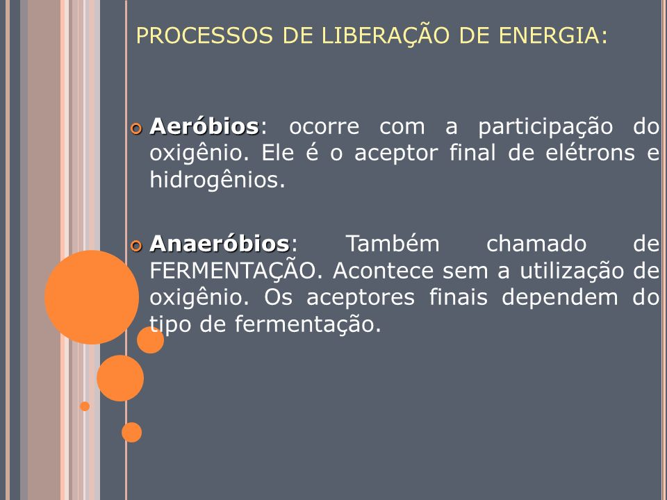 PROCESSOS DE LIBERAÇÃO DE ENERGIA: Aeróbios Aeróbios: ocorre com a participação do oxigênio. Ele é o aceptor final de elétrons e hidrogênios. Anaeróbi