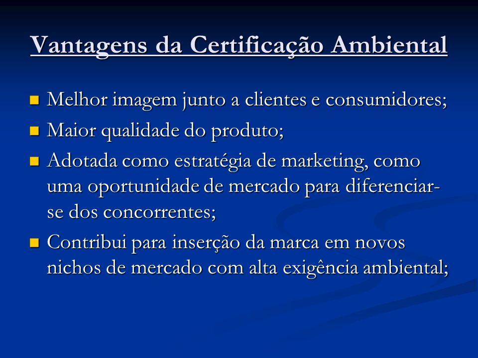 Vantagens da Certificação Ambiental Melhor imagem junto a clientes e consumidores; Melhor imagem junto a clientes e consumidores; Maior qualidade do produto; Maior qualidade do produto; Adotada como estratégia de marketing, como uma oportunidade de mercado para diferenciar- se dos concorrentes; Adotada como estratégia de marketing, como uma oportunidade de mercado para diferenciar- se dos concorrentes; Contribui para inserção da marca em novos nichos de mercado com alta exigência ambiental; Contribui para inserção da marca em novos nichos de mercado com alta exigência ambiental;
