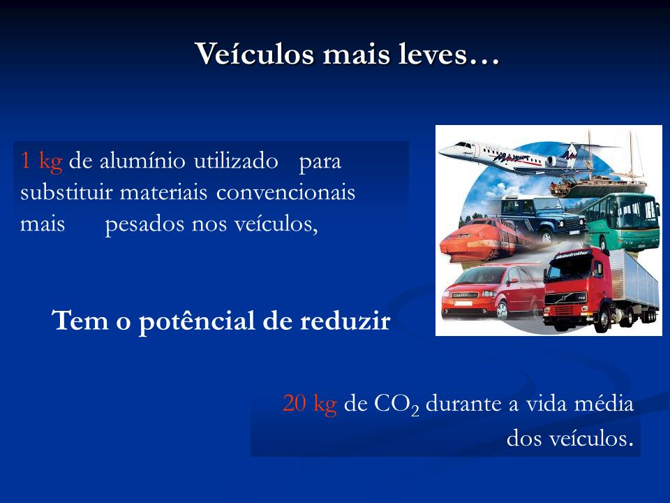 É possível economizar de 6 a 8% de combustível para cada 10% de redução do peso do veículo, sem comprometer o seu rendimento e segurança. Veículos mai