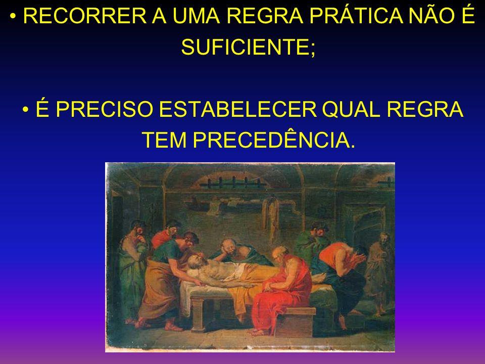 RECORRER A UMA REGRA PRÁTICA NÃO É SUFICIENTE; É PRECISO ESTABELECER QUAL REGRA TEM PRECEDÊNCIA.