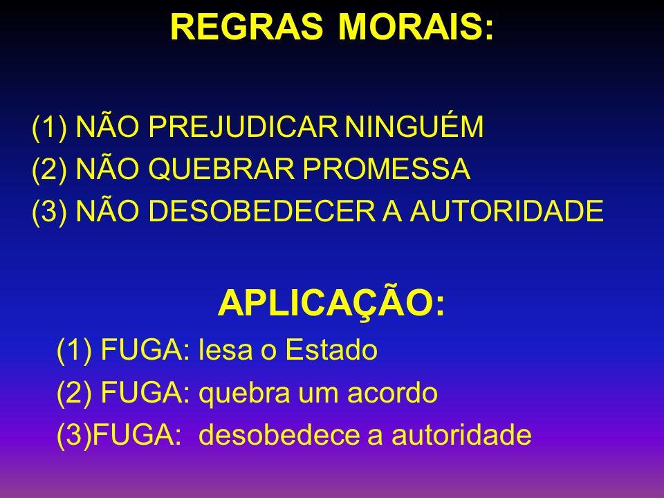 REGRAS MORAIS: (1) NÃO PREJUDICAR NINGUÉM (2) NÃO QUEBRAR PROMESSA (3) NÃO DESOBEDECER A AUTORIDADE APLICAÇÃO: (1) FUGA: lesa o Estado (2) FUGA: quebra um acordo (3)FUGA: desobedece a autoridade
