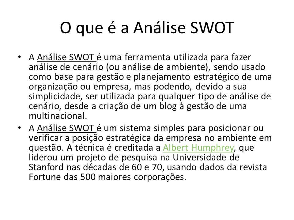 O que é a Análise SWOT A Análise SWOT é uma ferramenta utilizada para fazer análise de cenário (ou análise de ambiente), sendo usado como base para gestão e planejamento estratégico de uma organização ou empresa, mas podendo, devido a sua simplicidade, ser utilizada para qualquer tipo de análise de cenário, desde a criação de um blog à gestão de uma multinacional.