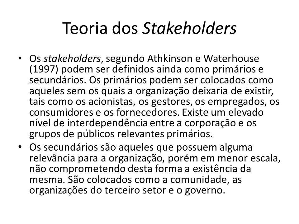 Teoria dos Stakeholders Os stakeholders, segundo Athkinson e Waterhouse (1997) podem ser definidos ainda como primários e secundários.