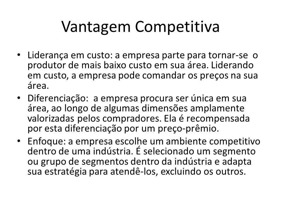 Vantagem Competitiva Liderança em custo: a empresa parte para tornar-se o produtor de mais baixo custo em sua área.