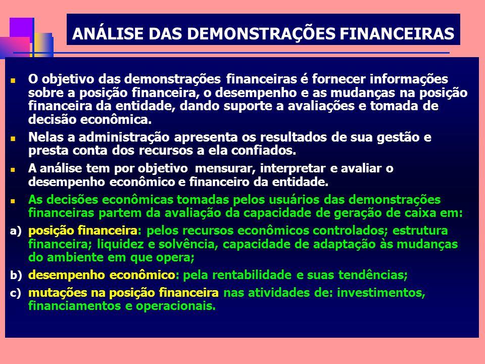 ANÁLISE DAS DEMONSTRAÇÕES FINANCEIRAS O objetivo das demonstrações financeiras é fornecer informações sobre a posição financeira, o desempenho e as mu