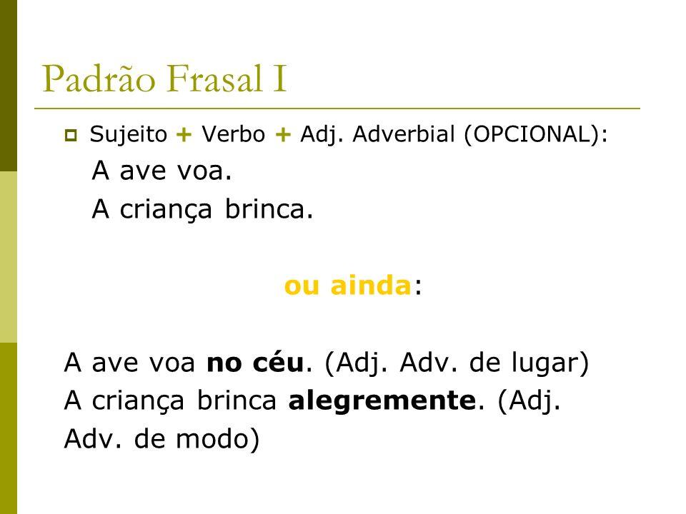 Padrão Frasal I Sujeito + Verbo + Adj. Adverbial (OPCIONAL): A ave voa. A criança brinca. ou ainda: A ave voa no céu. (Adj. Adv. de lugar) A criança b