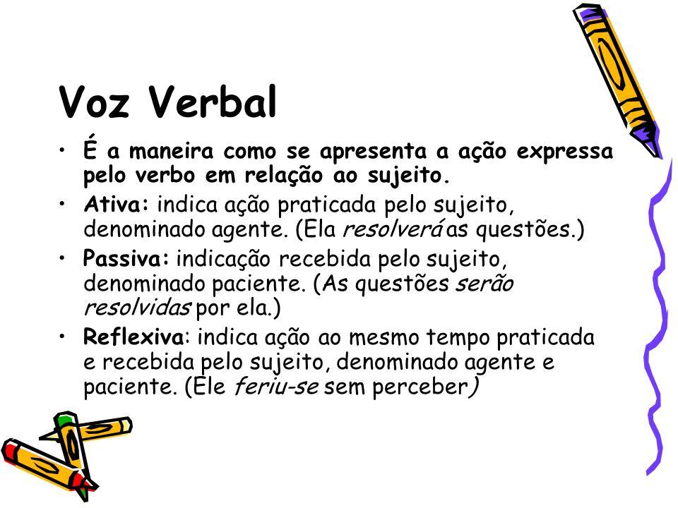 Voz Verbal É a maneira como se apresenta a ação expressa pelo verbo em relação ao sujeito. Ativa: indica ação praticada pelo sujeito, denominado agent