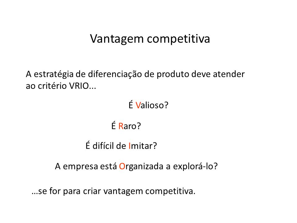 Vantagem competitiva A estratégia de diferenciação de produto deve atender ao critério VRIO... É Valioso? É Raro? É difícil de Imitar? A empresa está