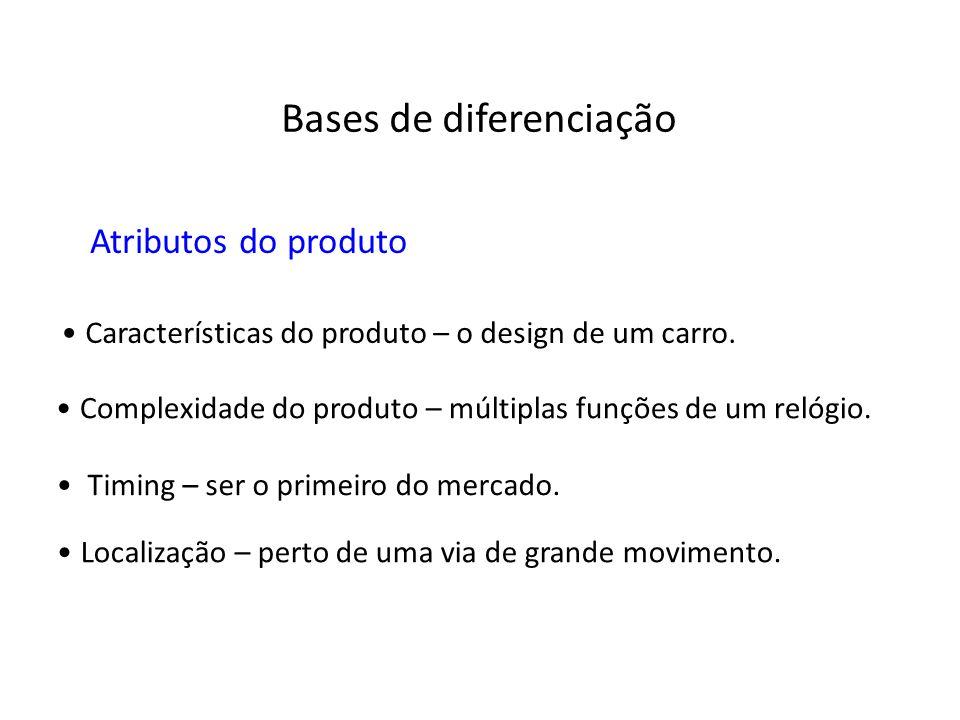 Atributos do produto Características do produto – o design de um carro. Complexidade do produto – múltiplas funções de um relógio. Timing – ser o prim