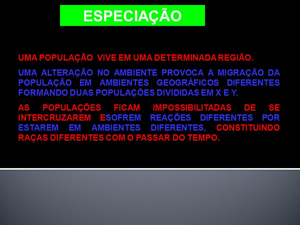 ESPECIAÇÃO UMA POPULAÇÃO VIVE EM UMA DETERMINADA REGIÃO.