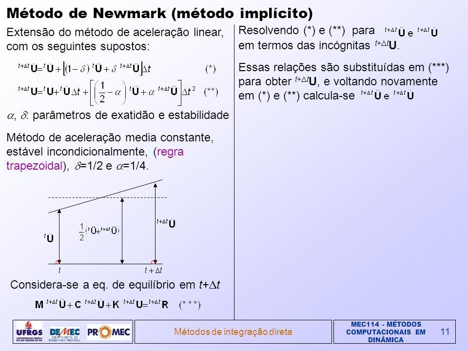 MEC114 - MÉTODOS COMPUTACIONAIS EM DINÂMICA DEPARTAMENTO DE ENGENHARIA MECÂNICA Métodos de integração direta11 Método de Newmark (método implícito) Extensão do método de aceleração linear, com os seguintes supostos:, : parâmetros de exatidão e estabilidade Método de aceleração media constante, estável incondicionalmente, (regra trapezoidal), =1/2 e =1/4.