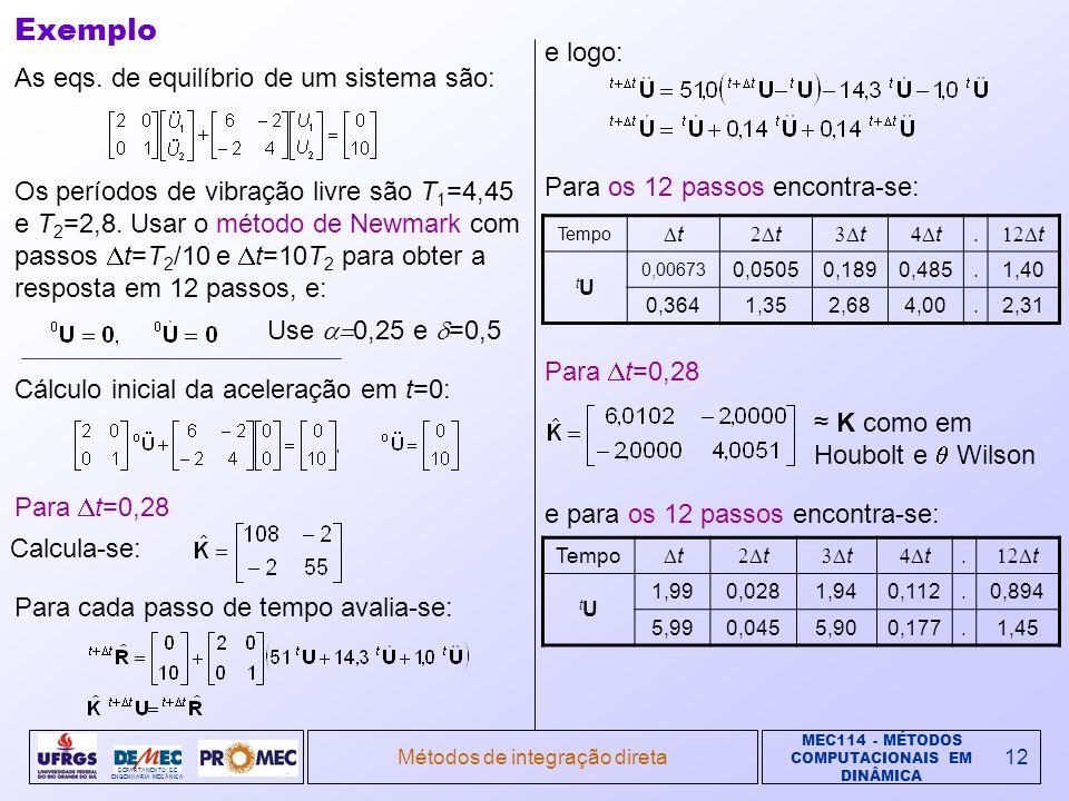 MEC114 - MÉTODOS COMPUTACIONAIS EM DINÂMICA DEPARTAMENTO DE ENGENHARIA MECÂNICA Métodos de integração direta12 Exemplo As eqs. de equilíbrio de um sis