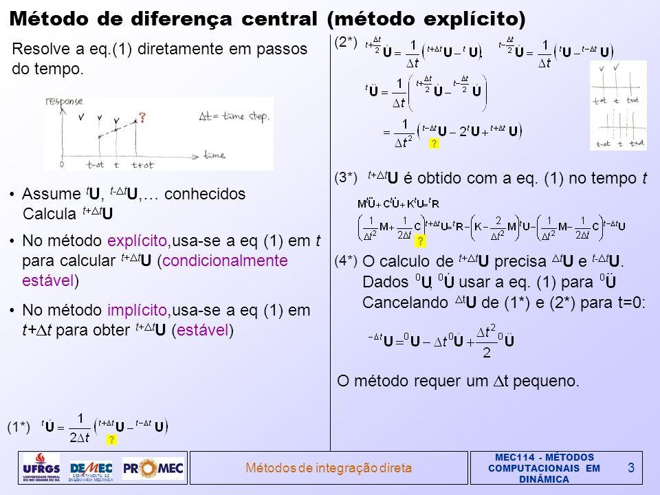 MEC114 - MÉTODOS COMPUTACIONAIS EM DINÂMICA DEPARTAMENTO DE ENGENHARIA MECÂNICA Métodos de integração direta3 Método de diferença central (método explícito) Resolve a eq.(1) diretamente em passos do tempo.