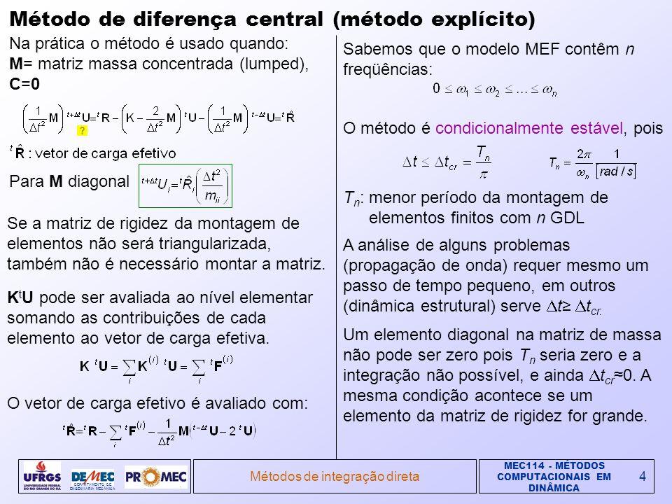MEC114 - MÉTODOS COMPUTACIONAIS EM DINÂMICA DEPARTAMENTO DE ENGENHARIA MECÂNICA Métodos de integração direta4 Método de diferença central (método explícito) Na prática o método é usado quando: M= matriz massa concentrada (lumped), C=0 Se a matriz de rigidez da montagem de elementos não será triangularizada, também não é necessário montar a matriz.