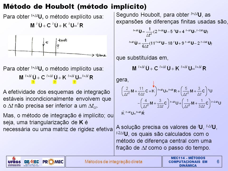 MEC114 - MÉTODOS COMPUTACIONAIS EM DINÂMICA DEPARTAMENTO DE ENGENHARIA MECÂNICA Métodos de integração direta6 Método de Houbolt (método implícito) A efetividade dos esquemas de integração estáveis incondicionalmente envolvem que o t não precisa ser inferior a um t cr.