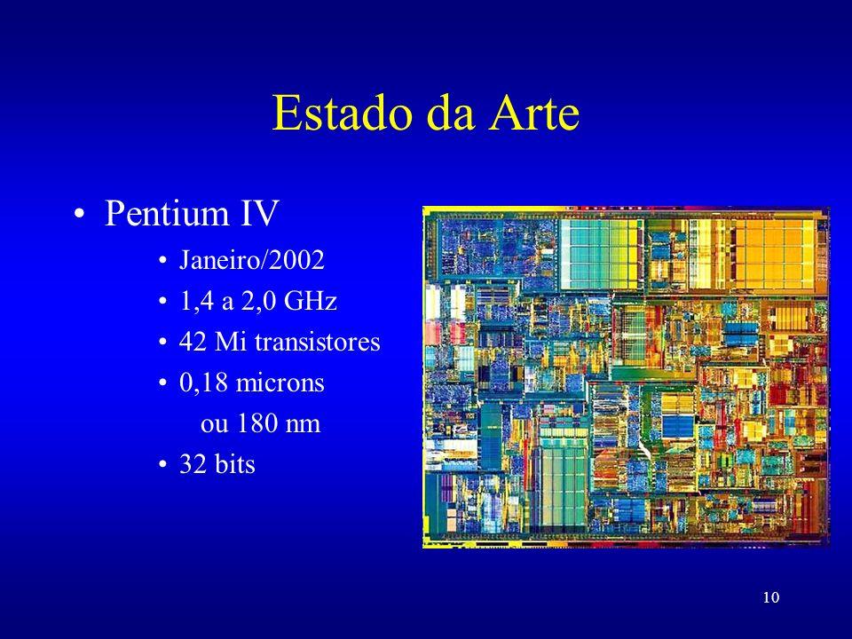 10 Pentium IV Janeiro/2002 1,4 a 2,0 GHz 42 Mi transistores 0,18 microns ou 180 nm 32 bits Estado da Arte