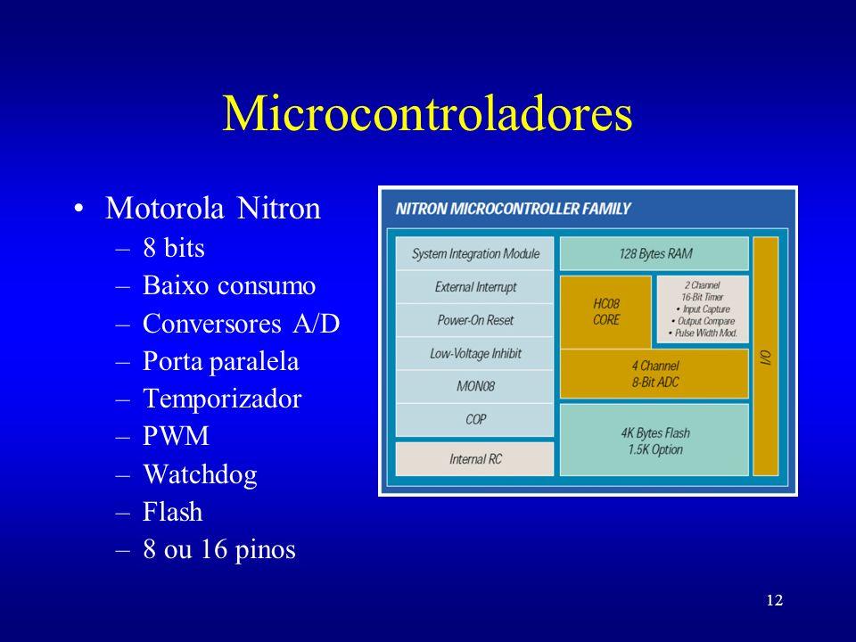 12 Microcontroladores Motorola Nitron –8 bits –Baixo consumo –Conversores A/D –Porta paralela –Temporizador –PWM –Watchdog –Flash –8 ou 16 pinos