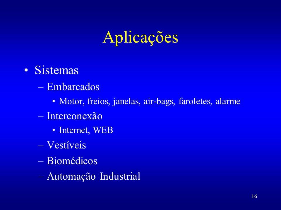 16 Aplicações Sistemas –Embarcados Motor, freios, janelas, air-bags, faroletes, alarme –Interconexão Internet, WEB –Vestíveis –Biomédicos –Automação I