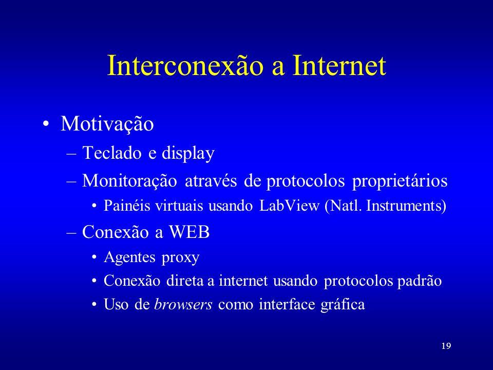 19 Interconexão a Internet Motivação –Teclado e display –Monitoração através de protocolos proprietários Painéis virtuais usando LabView (Natl. Instru