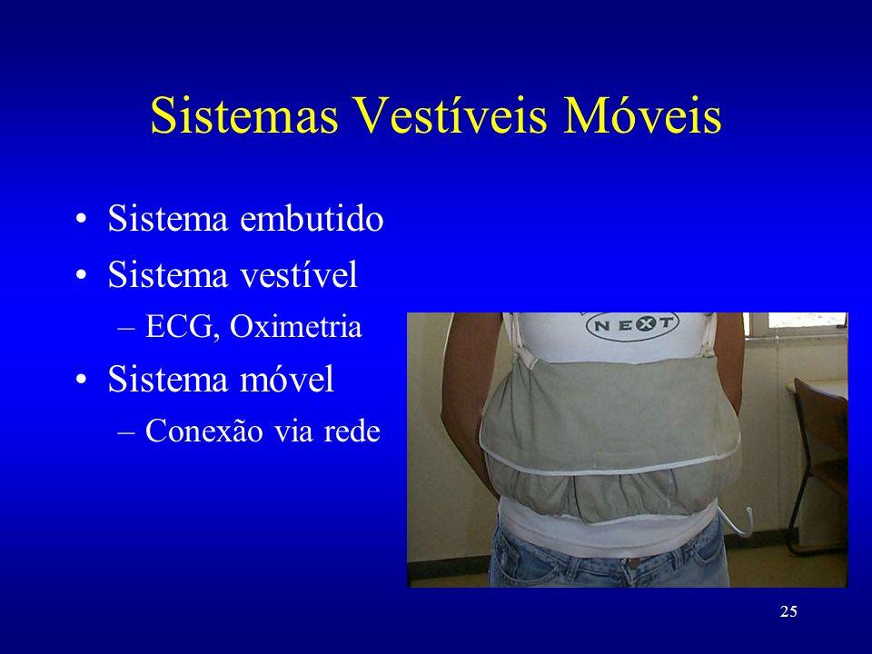 25 Sistemas Vestíveis Móveis Sistema embutido Sistema vestível –ECG, Oximetria Sistema móvel –Conexão via rede