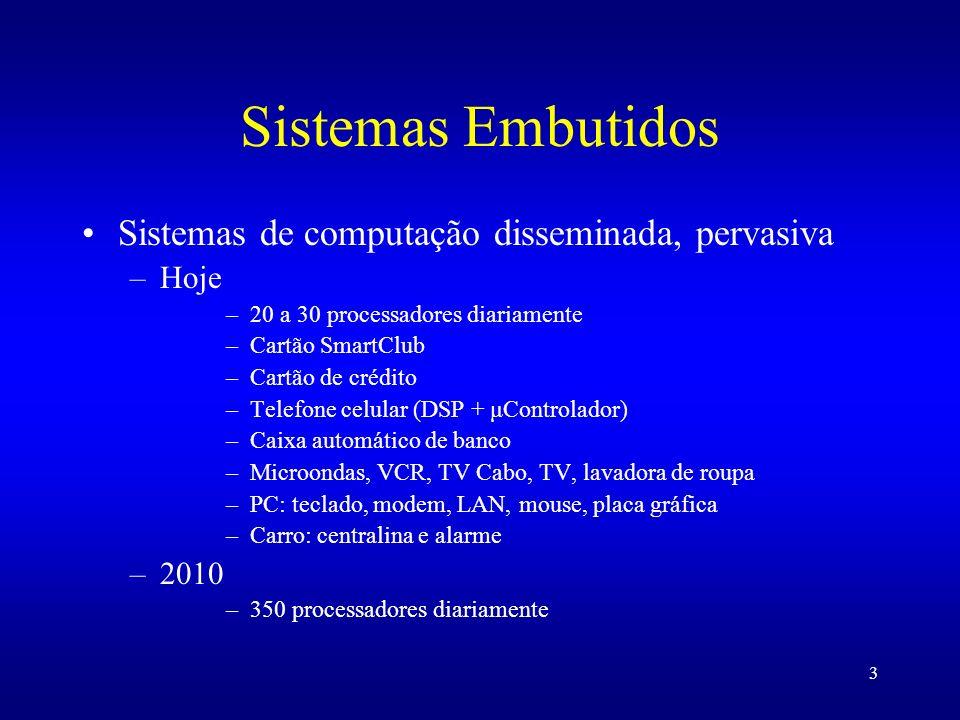 3 Sistemas Embutidos Sistemas de computação disseminada, pervasiva –Hoje –20 a 30 processadores diariamente –Cartão SmartClub –Cartão de crédito –Tele