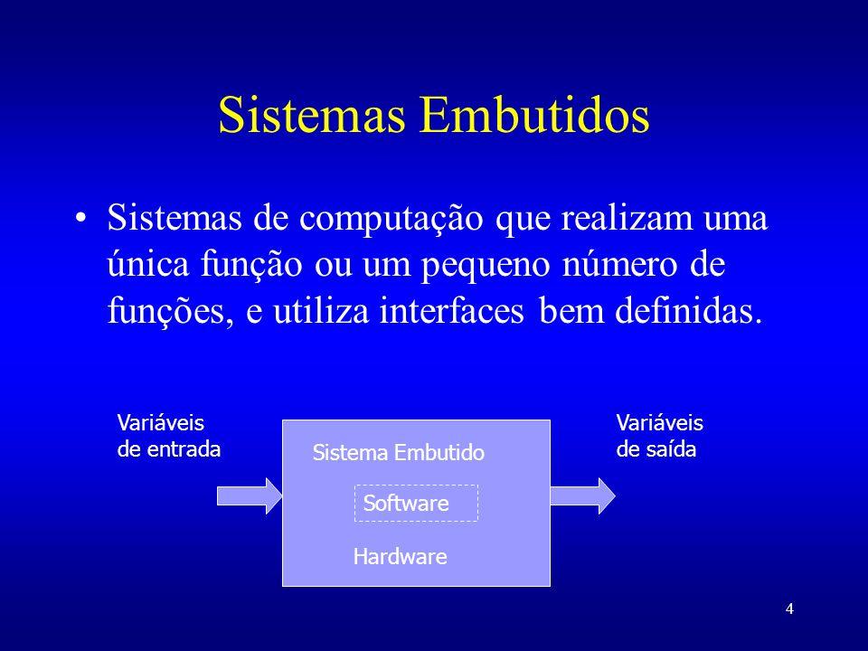 4 Sistemas Embutidos Sistemas de computação que realizam uma única função ou um pequeno número de funções, e utiliza interfaces bem definidas. Sistema
