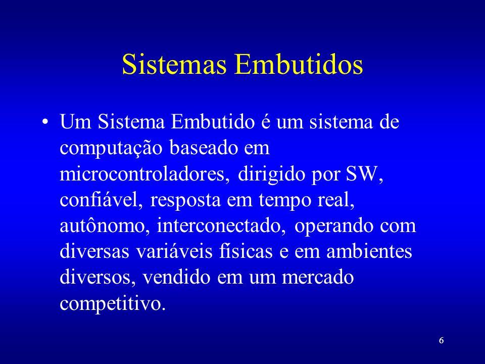 6 Sistemas Embutidos Um Sistema Embutido é um sistema de computação baseado em microcontroladores, dirigido por SW, confiável, resposta em tempo real,
