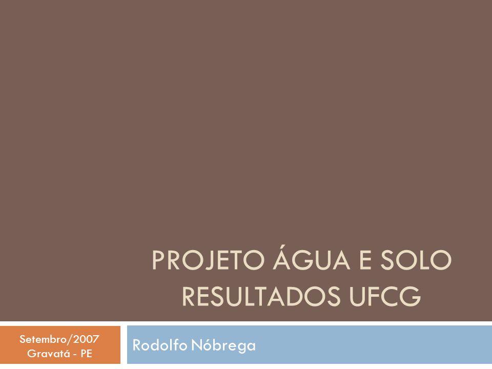 PROJETO ÁGUA E SOLO RESULTADOS UFCG Rodolfo Nóbrega Setembro/2007 Gravatá - PE