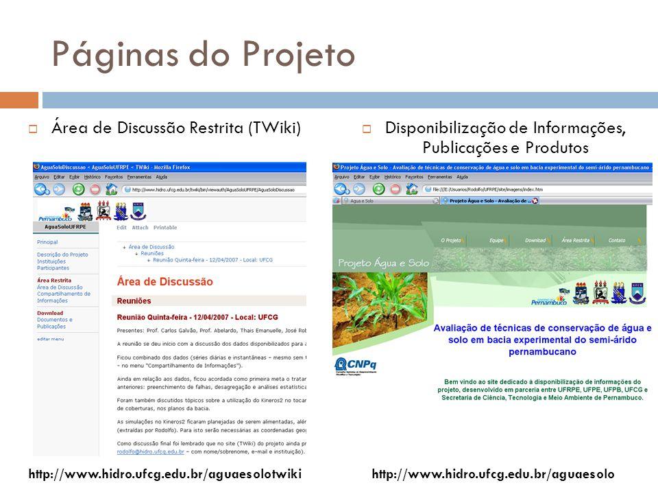Páginas do Projeto Área de Discussão Restrita (TWiki) Disponibilização de Informações, Publicações e Produtos http://www.hidro.ufcg.edu.br/aguaesolotw