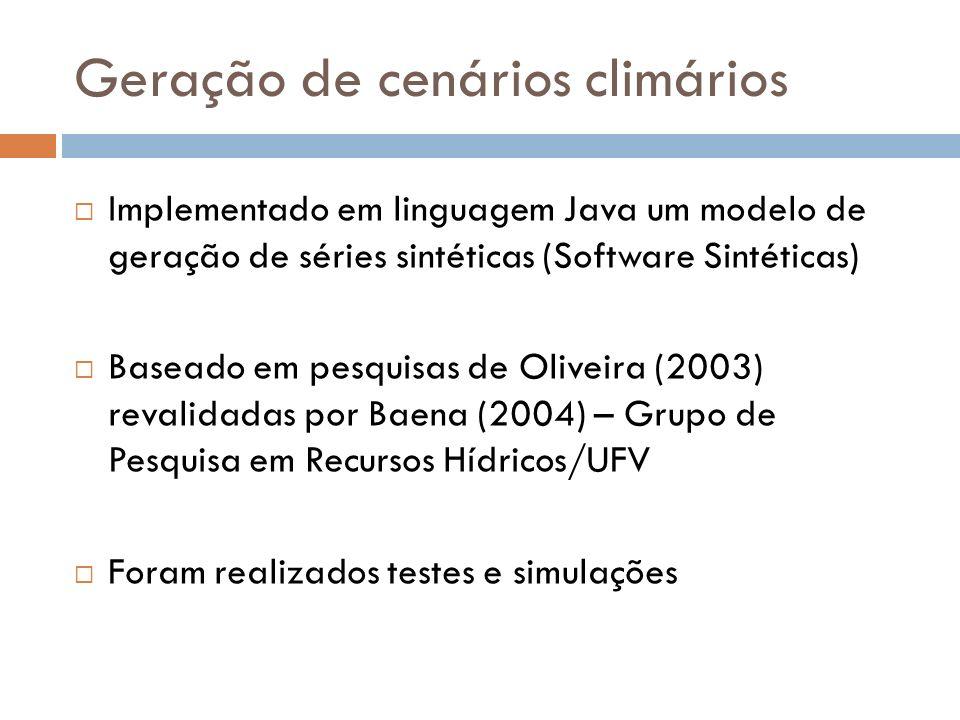 Geração de cenários climários Implementado em linguagem Java um modelo de geração de séries sintéticas (Software Sintéticas) Baseado em pesquisas de O