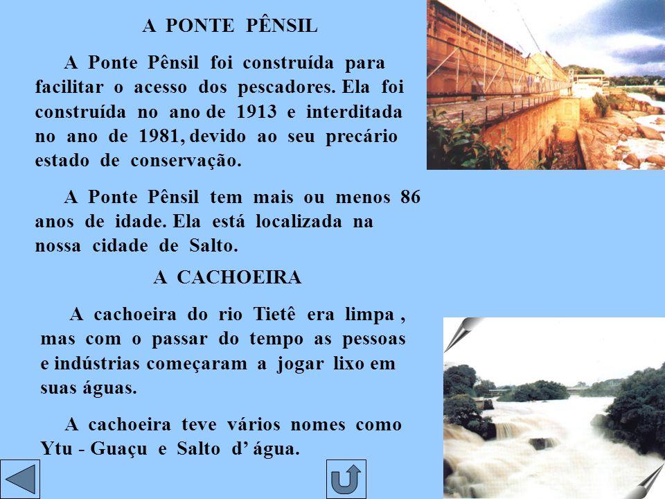A PONTE PÊNSIL A Ponte Pênsil foi construída para facilitar o acesso dos pescadores.