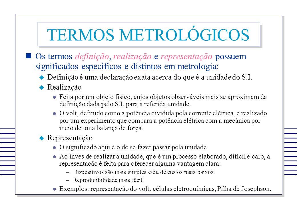 TERMOS METROLÓGICOS Os termos definição, realização e representação possuem significados específicos e distintos em metrologia: Definição é uma declar