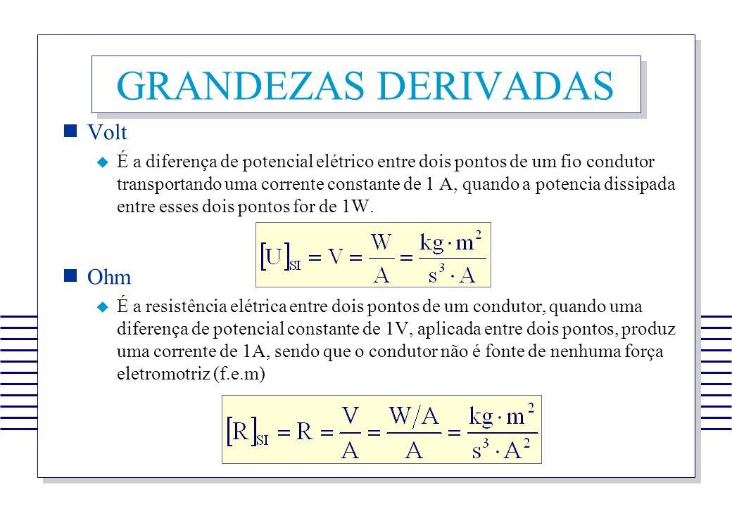 GRANDEZAS DERIVADAS Volt É a diferença de potencial elétrico entre dois pontos de um fio condutor transportando uma corrente constante de 1 A, quando