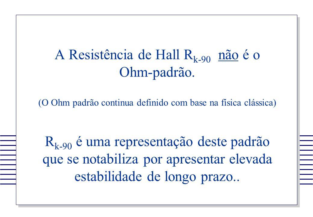 A Resistência de Hall R k-90 não é o Ohm-padrão. (O Ohm padrão continua definido com base na física clássica) R k-90 é uma representação deste padrão
