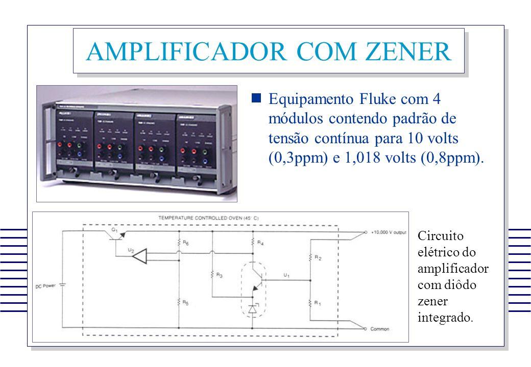 AMPLIFICADOR COM ZENER Equipamento Fluke com 4 módulos contendo padrão de tensão contínua para 10 volts (0,3ppm) e 1,018 volts (0,8ppm). Circuito elét