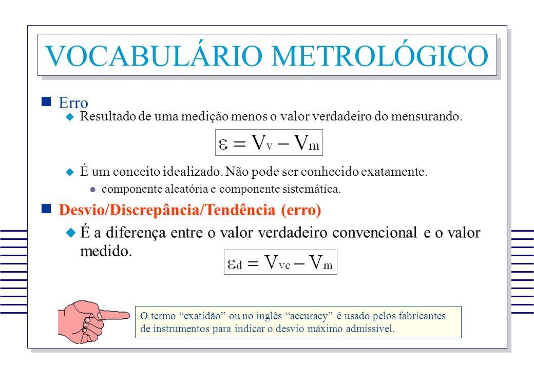 VOCABULÁRIO METROLÓGICO Erro Resultado de uma medição menos o valor verdadeiro do mensurando. É um conceito idealizado. Não pode ser conhecido exatame