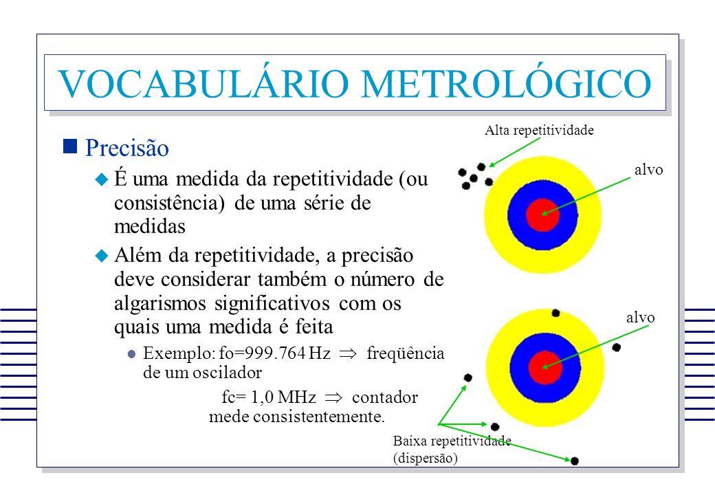 VOCABULÁRIO METROLÓGICO Precisão É uma medida da repetitividade (ou consistência) de uma série de medidas Além da repetitividade, a precisão deve cons