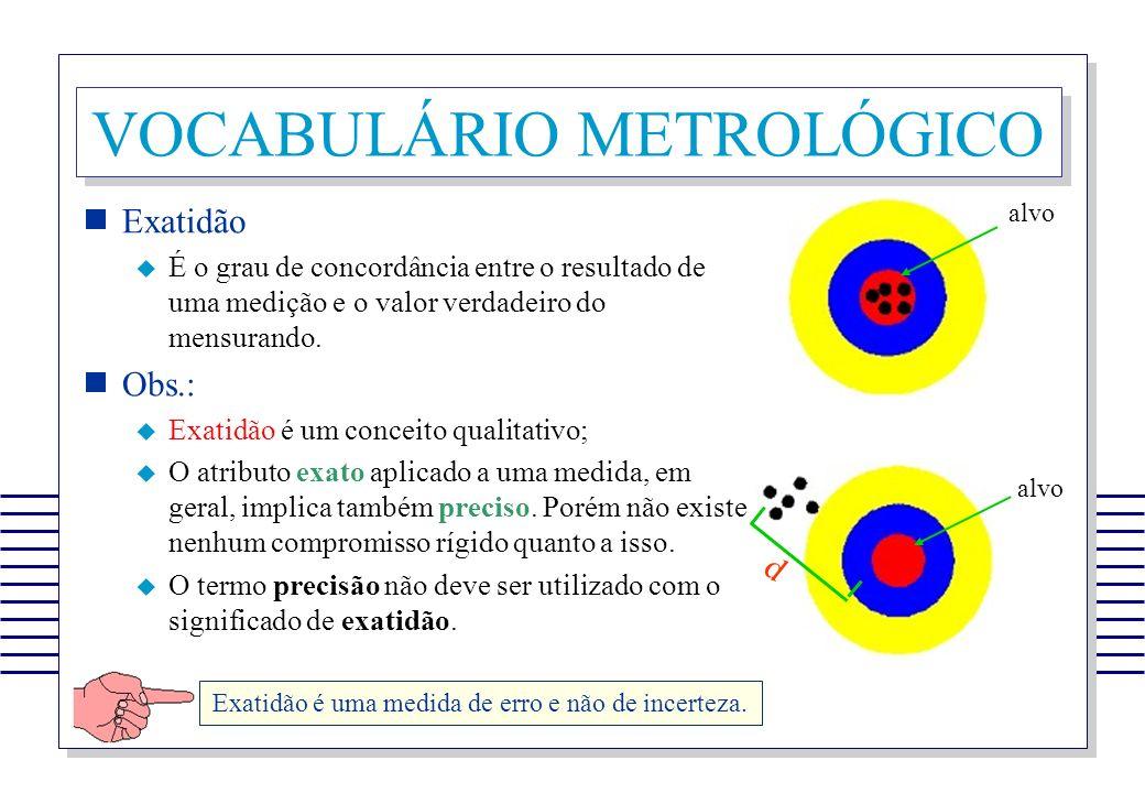 VOCABULÁRIO METROLÓGICO Exatidão É o grau de concordância entre o resultado de uma medição e o valor verdadeiro do mensurando. Obs.: Exatidão é um con