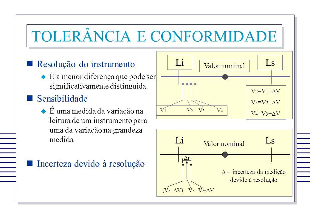 TOLERÂNCIA E CONFORMIDADE Resolução do instrumento É a menor diferença que pode ser significativamente distinguida. Sensibilidade É uma medida da vari
