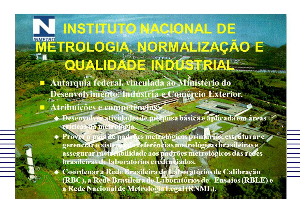 INSTITUTO NACIONAL DE METROLOGIA, NORMALIZAÇÃO E QUALIDADE INDUSTRIAL Autarquia federal, vinculada ao Ministério do Desenvolvimento, Indústria e Comér